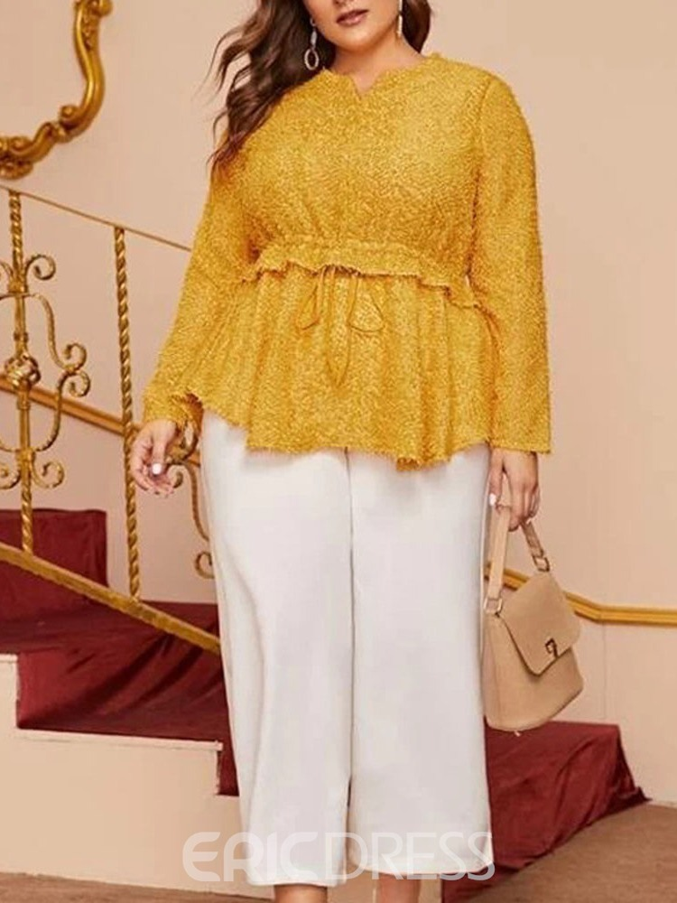 Ericdress Plus Size Regular Plain Long Sleeve Mid-Length Blouse