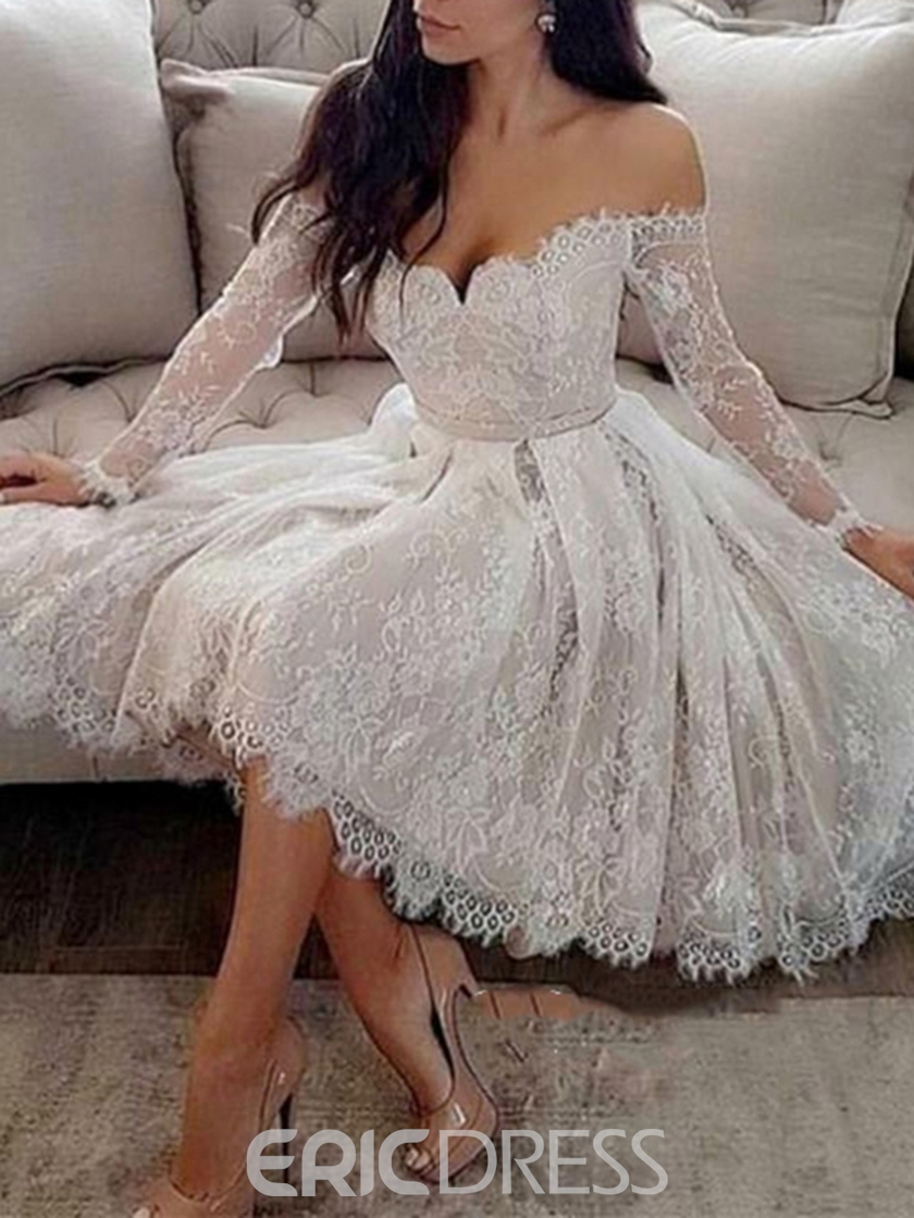 Ericdress Lace Long Sleeves Off-The-Shoulder Knee-Length Cocktail Dress