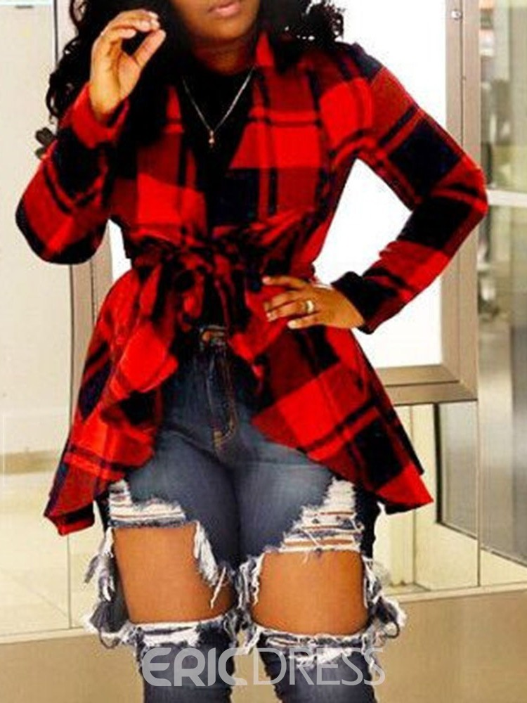 Ericdress African Fashion Lapel Plaid Lace-up Mid-Length Long Sleeve Blouse