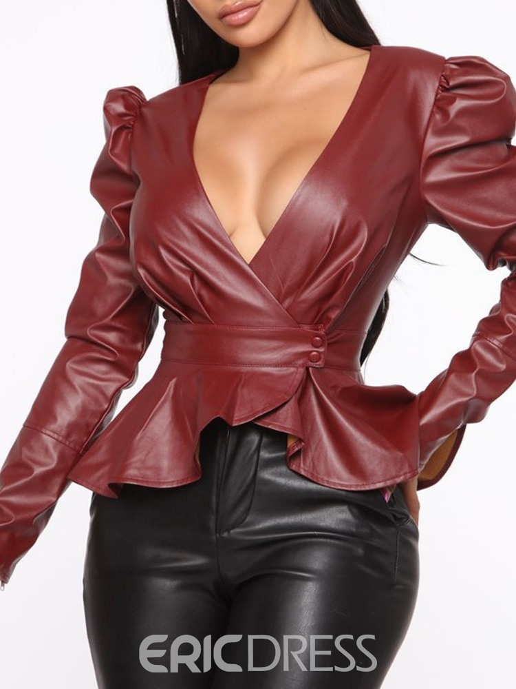 Ericdress African Fashion Sexy V-neck Slim Standard PU Jacket