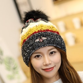 Ericdress Woolen Yarn Patchwork Winter Color Block Hats
