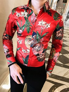 Ericdress Lapel Plant Print Style Slim Single-Breasted Men's Shirt