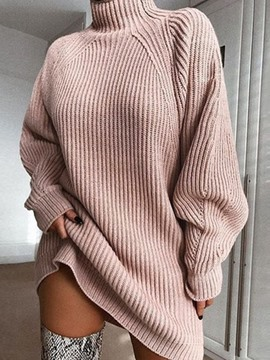Ericdress Turtleneck Long Sleeve Above Knee Raglan Sleeve Casual Dress