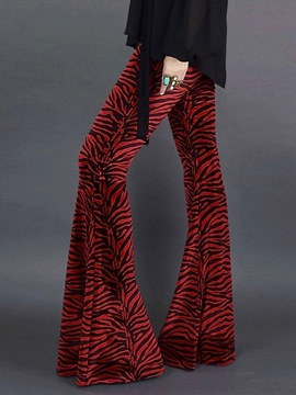 Ericdress Print Full Length Bellbottoms Slim Casual Pants
