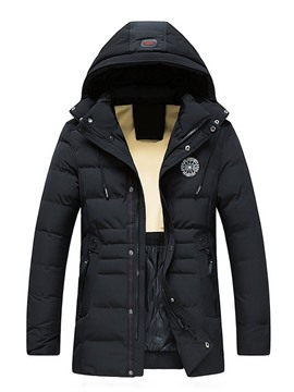 Ericdress Patchwork Mid-Length Style Hooded Zipper European Men's Down Jacket