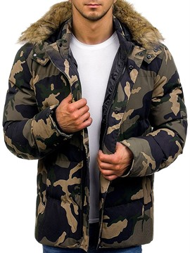 Ericdress Mid-Length Pocket Camouflage Casual Zipper Men's Down Jacket