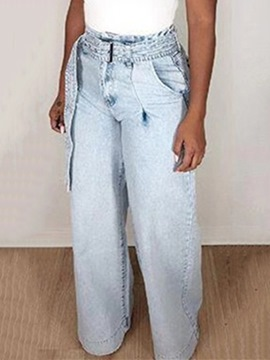 Ericdress Lace-Up Straight Loose High Waist Jeans