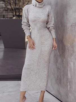 Ericdress Mid-Calf Turtleneck Long Sleeve Fall Bodycon Dress