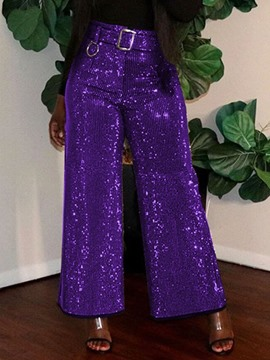 Ericdress Sequins Loose Plain Full Length Wide Legs Casual Pants