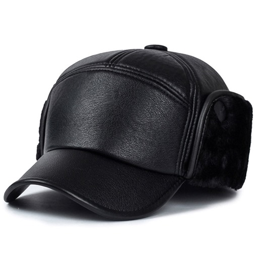 Ericdress Bomber Leather Plain Winter Men's Hats