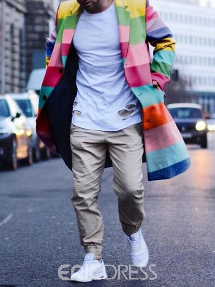 Ericdress Color Block Mid-Length Casual Style Straight Men's Coat