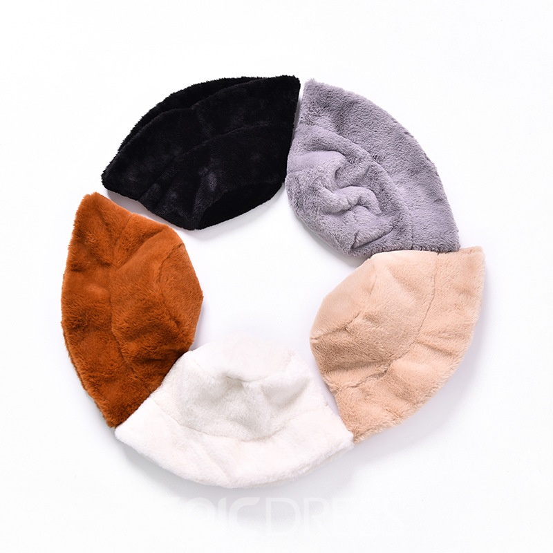 Ericdress Bucket Fur Spring Sweet Plain Hats