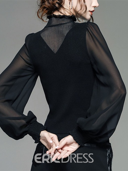 Ericdress Chiffon Lantern Sleeve Plain Patchwork Long Sleeve Standard Blouse