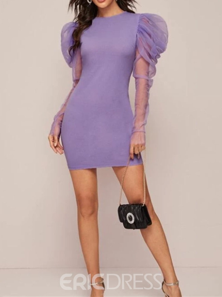 Ericdress Round Neck Above Knee Long Sleeve Spring Bodycon Dress