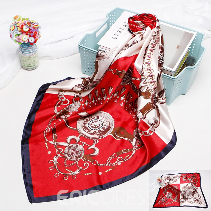 Ericdress Charmeuse Print Color Block Sweet Scarves