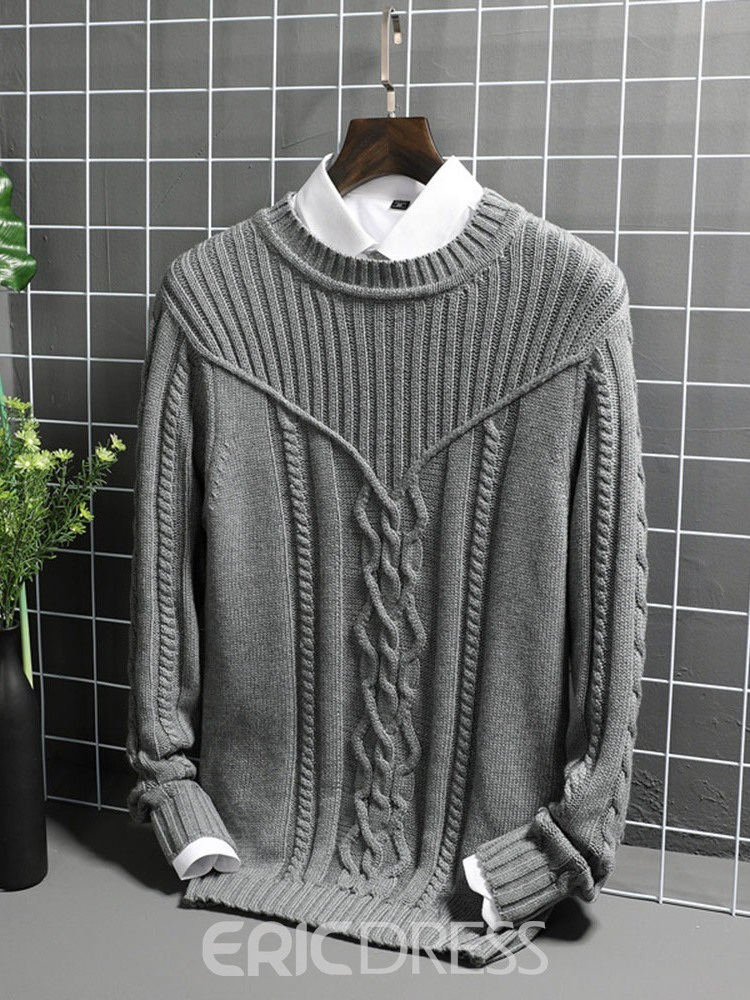 Ericdress Plain Round Neck Casual Straight Men's Sweater