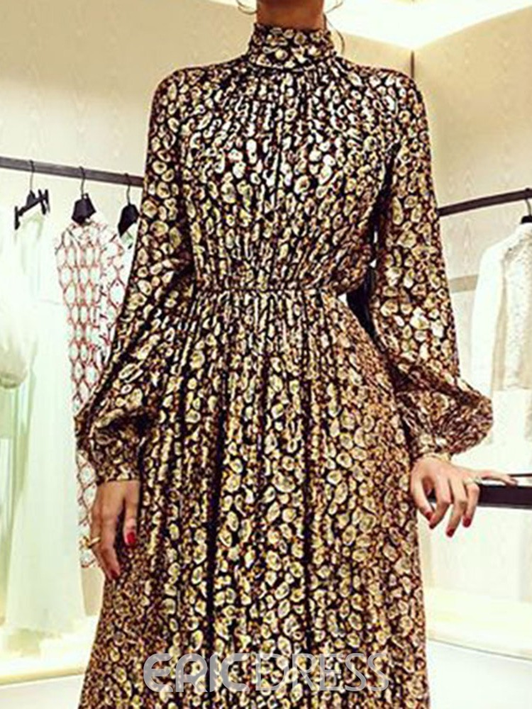 Ericdress Long Sleeve Print Ankle-Length Expansion Floral Dress