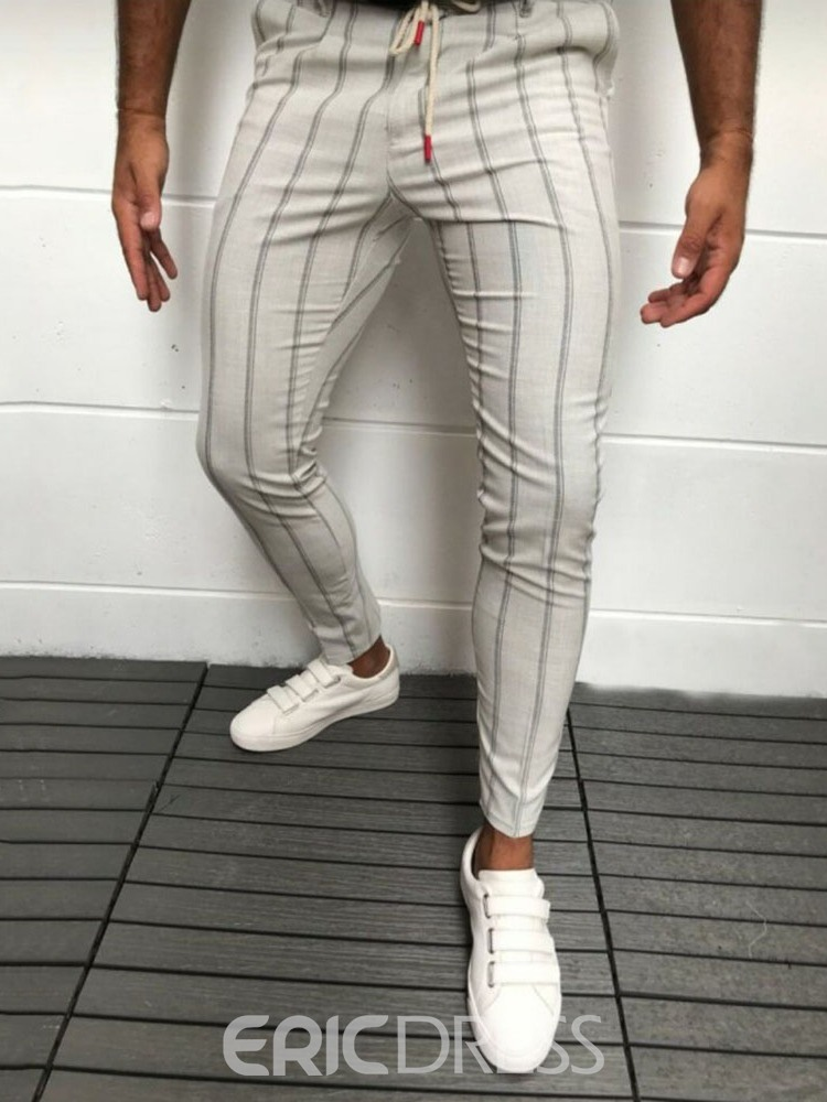 Ericdress Stripe Pocket European Men's Casual Pants