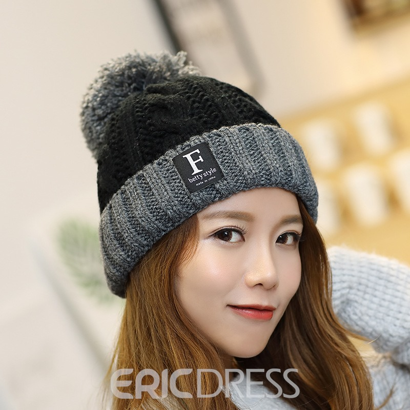 Ericdress Knitted Woolen Yarn Color Block Spring Hats