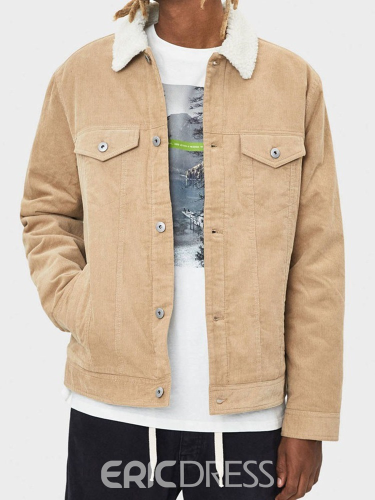 Ericdress Patchwork Thick Lapel Casual Men's Jacket