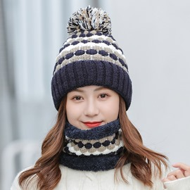 Ericdress Pompon Knitted Color Block Spring Hats