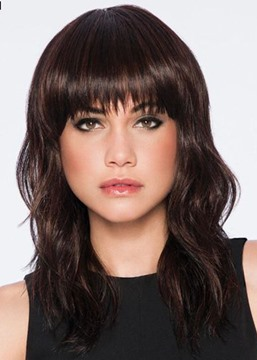 Ericdress Medium Layered Hairstyle Women's Wavy Synthetic Hair With Bangs Natural Looking Capless Wigs 18Inch