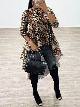 ericdress leopardo regular patchwork blusa larga manga larga