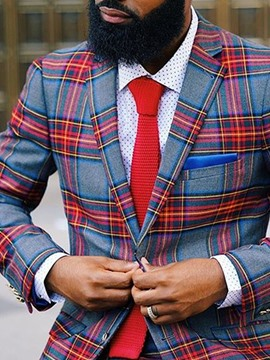 Ericdress Casual Plaid Slim African Fashion Dashiki Style Men's Leisure Blazers