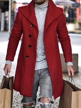 Ericdress Mid-Length Style Plain Lapel A Line Men's Coat