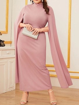 Ericdress Plus Size Split Long Sleeve Stand Collar Standard-Waist Plain Dress
