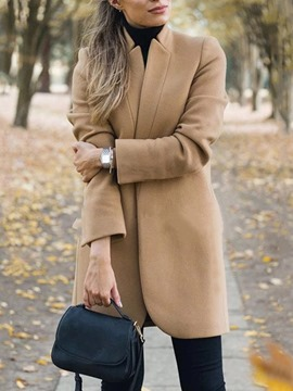 Ericdress Plain Casual Regular Straight Mid-Length Overcoat