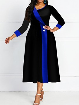 Ericdress Knee-Length Oblique Collar Three-Quarter Sleeve Pullover Standard-Waist Dress
