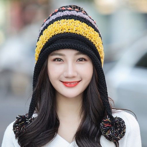 Ericdress Knitted Sweet Color Block Winter Hats