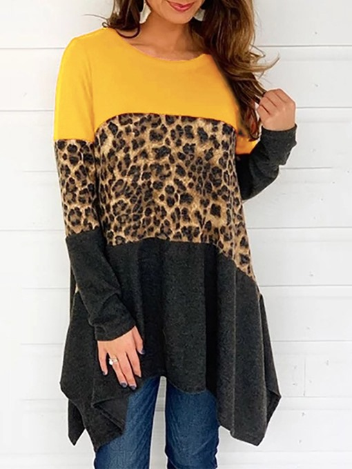 Ericdress Mid-Length Leopard Round Neck Loose Casual T-Shirt