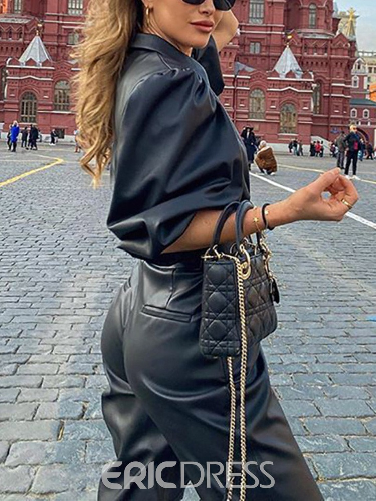 Ericdress Faux Leather Single-Breasted Straight Standard PU Jacket