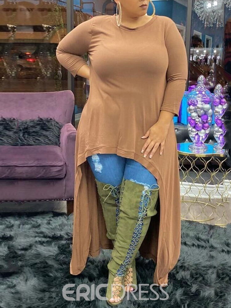 Ericdress Plus Size Long Sleeve Plain Round Neck Loose T-Shirt
