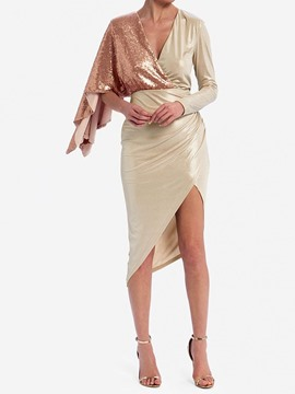 Ericdress Asymmetric Long Sleeve V-Neck High Waist Party/Cocktail Women's Dress