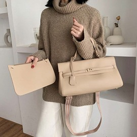 Ericdress Plain Lock PU Rectangle Tote Bags