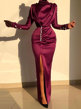 Ericdress Split Long Sleeve Floor-Length Plain Women's Bodycon Dress