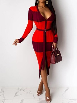 Ericdress Mid-Calf Long Sleeve Patchwork Mid Waist Women's Pencil Dress