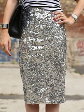 Ericdress Bodycon Sequins Knee-Length Casual Skirt