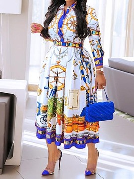 Ericdress Three-Quarter Sleeve Print Mid-Calf A-Line Elegant Women's Dress