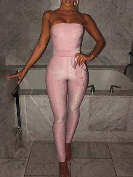 Ericdress Off Shoulder Lace-Up Plain Sexy Skinny Mid Waist Jumpsuit
