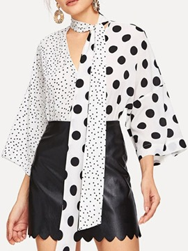 Ericdress Office Lady Asymmetric Polka Dots Standard Nine Points Sleeve Blouse