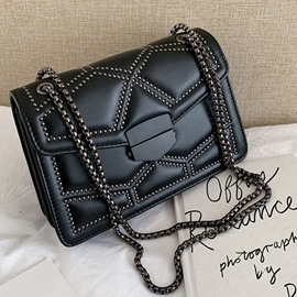 Ericdress Rivet PU Geometric Rectangle Crossbody Bags