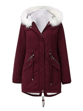 Ericdress Fur Hooded Thick Patchwork Zipper Mid-Length Cotton Padded Jacket