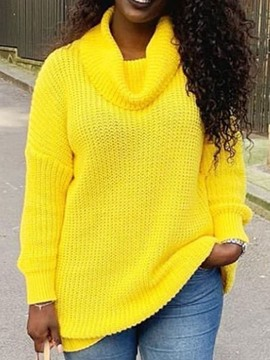 Ericdress Thick Bright Turtleneck Regular Mid-Length Loose Sweater