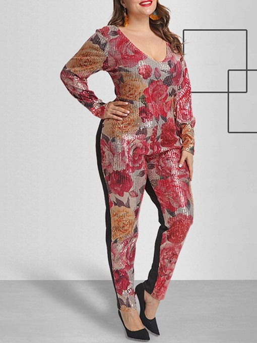 Ericdress Plus Size Casual Print Full Length Slim High Waist Jumpsuit