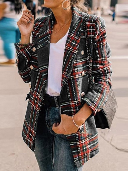 Ericdress Plaid Fashion Double-Breasted Regular Straight Overcoat