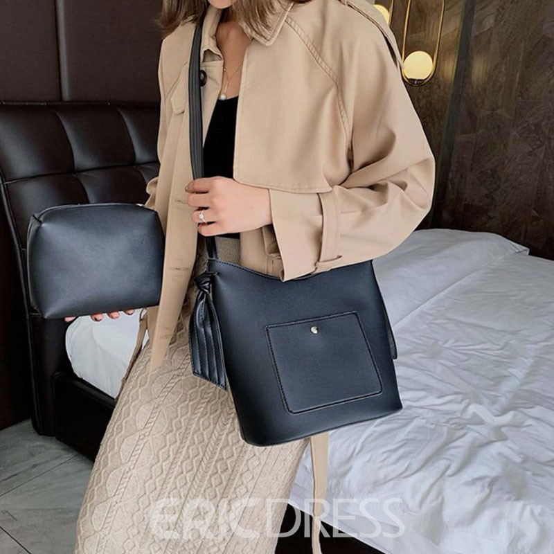 Ericdress Thread Plain PU Rectangle Casual Tote Bags
